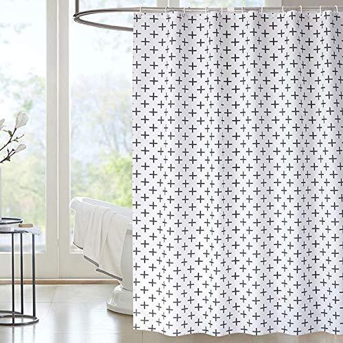 Cortina de ducha N/F resistente al moho y al moho, cortina decorativa de poliéster con 12 ganchos, 180 x 180 cm (blanco)