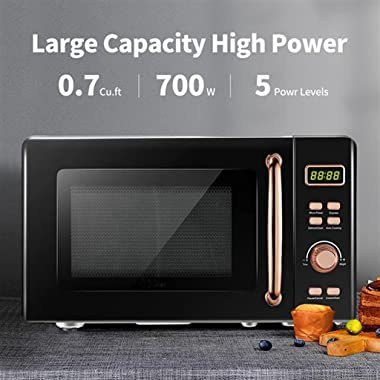 Microwave Oven Stainless Steel Countertop/Glass Carousel and 8 Cooking Menu, 0.7 Cu. Ft, 700W Digital Microwave Oven, Black