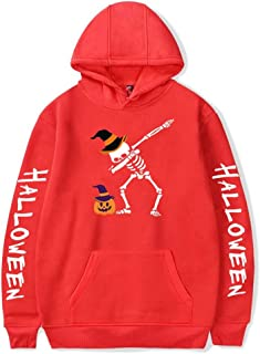 Women's Halloween Sweatshirt Hoodies Ghost Long Sleeve Pullover Scary Printed Sweatshirts for Couple