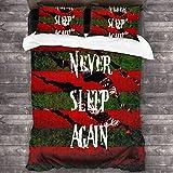 Freddy Krueger Never Sleep Again - Juego de cama de 3 piezas (218,4 x 177,8 cm, súper suave, cálido, juego de cama Queen con 2 fundas de almohada)