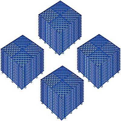 Happybuy Rubber Tiles Interlocking 55 PCS, Drainage Tiles 12x12x0.5 Inches, Deck Tiles Outdoor Floor Tiles, Outdoor Interlocking Tiles, Deck Flooring for Pool Shower Bathroom Deck Patio Garage (Blue)