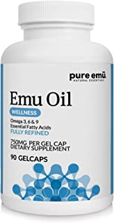 Pure Emu Emu Oil Gelcaps   Daily Wellness Supplement: Fully Refined Emu Oil   Natural, Safe & Hormone-Free   Omega 3, 6, 9 Essential Fatty Acids for Heart & Joint Health Support, 90 Ct