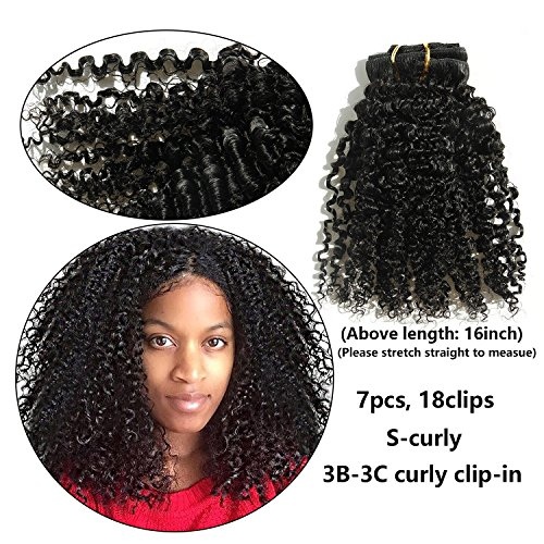 Ms Fenda Brazilian Remy Virgin Hair Kinky Curly Natural Color African American Clip In Hair Extensions 120Gram 7Pcs/Set (18', 120Gram/Set)
