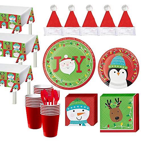 Buy ELEGANI Christmas Holiday Theme Party Supplies Tableware;Friends of Santa Tableware Kit for 56 G...