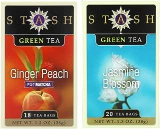 Stash Flavored Green Teas 2 Flavor Variety Bundle: (1) Stash Ginger Peach Green Tea with Matcha, and (1) Stash Jasmine Blossom GreenTea 1.2-1.3 Oz. Ea. (2 Boxes)
