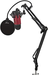 BLUE Yeti USB Microphone (Satin Red) with Knox Shock Mount, Studio Stand and Pop Filter