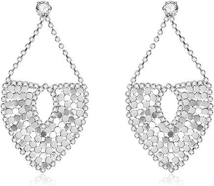 CX Sequin Crystal Earrings Heart Shape Earrings Simple Design Exquisite Jewelry for Women Girls Silver