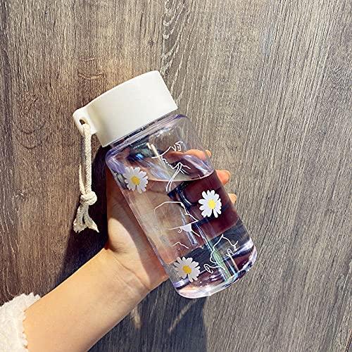 N\C 500ml botellas de agua de plástico transparente BPA libre pequeñas botellas de agua creativas pequeñas margaritas con cuerda portátil viaje taza de té tazas de café