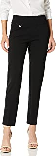 SLIM-SATION Solid Knit Pull On Easy Fit Ankle Pant with Hem Vent