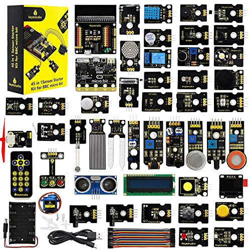 KEYESTUDIO BBC Micro:bit with 45 Sensors Module, v1.5 Microbit Board, Breakout Board, I2C LCD,OLED Display, Water Level,Relay etc. with Tutorials Coding for Kids Teens Adults