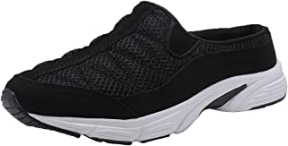 FANTURE Womens Mesh Breathable Casual Sneakers Clog Mule Ultra Lightweight Slip on Walking Shoes Genuine Suede Leather U420Sneaker077-Black Suede-03-40