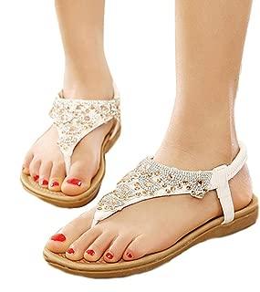Hemlock Women Girl's Flat Sandals Bohemia Rhinestone Sandals Shoes (US:8.5, White)