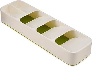 Joseph Joseph - Range Couvert pour Tiroir Compact, Organisateur de Tiroir, Blanc/Vert, 5,7 x 39,5 x 11 cm