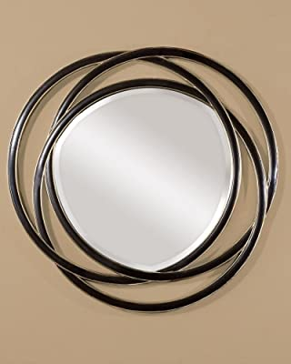 Matte Black With Silver Leaf Odalis Beveled Mirror With Entwined Circles Frame Model-14522 B