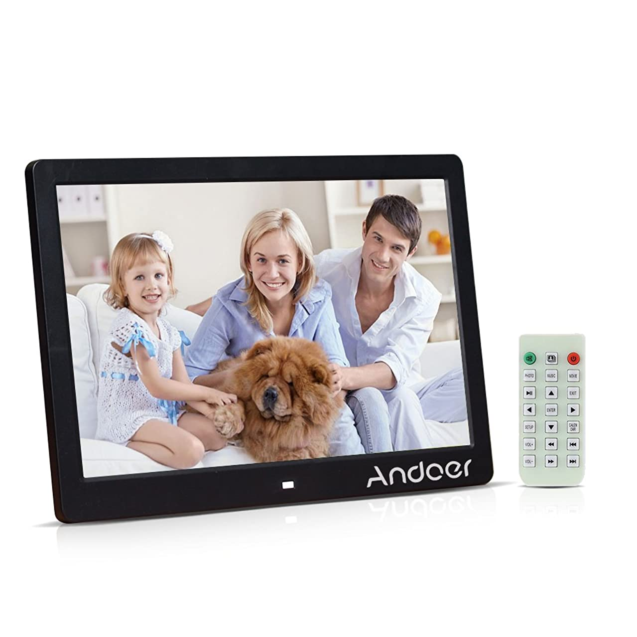Andoer 13Inch Digital Photo Frame, Digital Picture Frame 1080P LED MP3 MP4 Picture Player Electronic Clock/Alarm Clock/Calendar with Remote Control