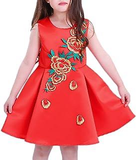 (ウォ2U)Woo2u 女の子 キッズ 子供洋服 春夏 ノースリーブ 赤色 花柄 ひざ丈 三五七 入学式 姫様 パーティー カジュアル フォーマルドレス 通勤 ワンピース お呼ばれ