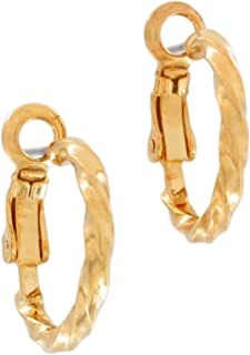 Small Gold Tone Spiral Hoop Pierced Earrings 5/8