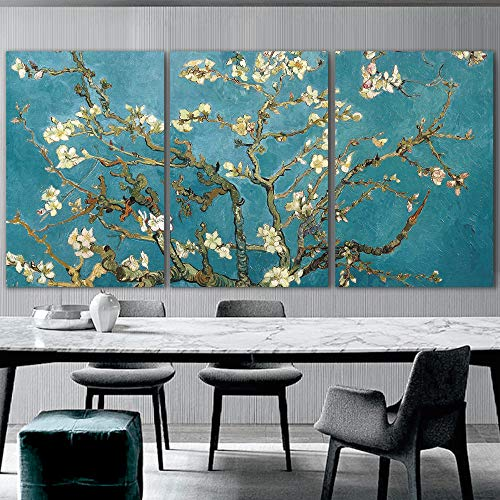 wall26 3 Panel Canvas Wall Art - Almond Blossom by Vincent Van Gogh -