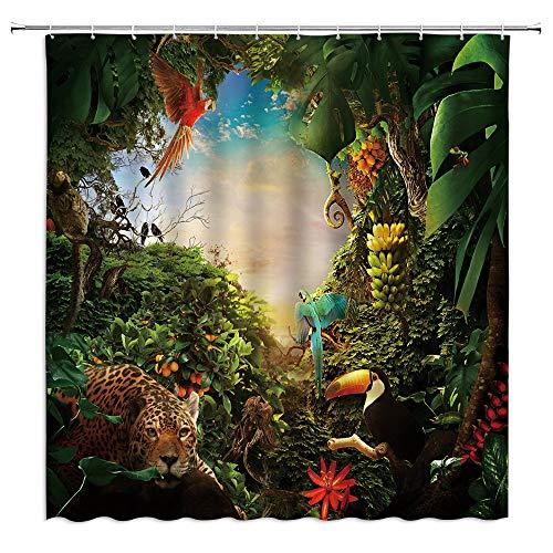 AUNMPY DuschvorhangTropische Dschungel-Landschaft Duschvorhänge Badezimmer Dekor Hirsch Wildtier Papagei Tukan Leopard Home Badewanne Polyester Vorhang