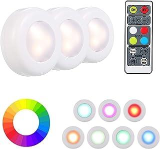Luces para Gabinetes LED VISLONE 3 Pack Luces Nocturnas LED Luz de Armario Inalámbrica con 2 Control Remoto 16 Colores ...