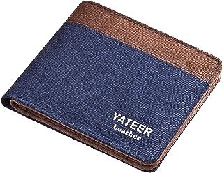 Men Canvas Small Bifold Thin Front Pocket Wallet Card Holder Billfold