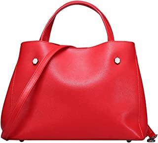 Runhuayou New Fashion Uncomplicated Multi-Function Tumid Capacity Shoulder Bag Shoulder Slung Leather Handbag Great for Casual or Many Other Occasions Such (Color : Red)