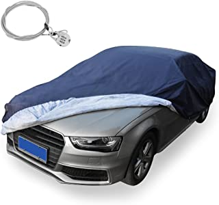 YITAMOTOR Auto Covers All Weather Proof Universal Fit Car Cover with Lock- Dust, Rain, Snow, Water Proof Fits up to 169 inches (PEVA, Dark Blue)