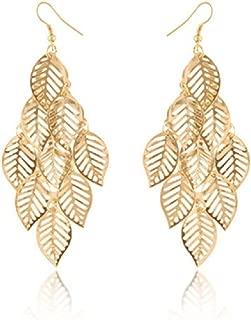 Niome One Pair Unique Bohemia Nine Leaves Long Fashion Dangle Earrings For Girls Gold