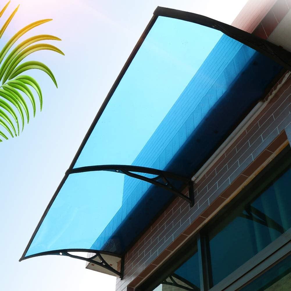 Color : Blue+Black, Size : 60x60cm Pensilina Fume da Esterno profondit/à 60//80//100//120cm Pensilina Modulabile Tettoia in Policarbonato con Staffa in Lega di Alluminio