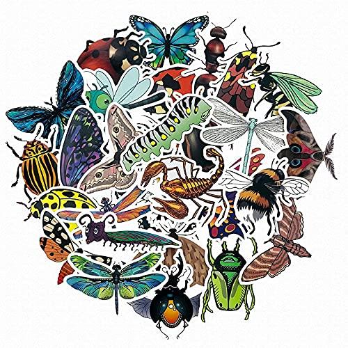 PMSMT 50 unids Naturaleza Animales Insectos Abejas Mariposas Mariquita Pegatinas para Nevera Insectos Diarios niños educación Pegatinas de Juguete