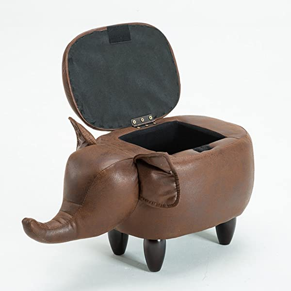 D L Children Animals Elephant Storage Stool Footstool Creative 4 Legs Solid Wood Storage Box Chair For Children Shoe Stool Brown L63xW33xH36cm