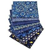 Yuelso 8pcs / Lot aclaran la Tela de algodón del Remiendo de paño Azul de la Serie de DIY Hecho a Mano de Costura Que acolcha Crafts Bolsas Cojín de Materiales Textiles