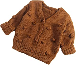 Toddler Infant Baby Girls Cardigan Sweater Solid Color Pompoms Knitted Coat Tops Autumn Winter Outfit Clothes