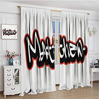 Paddy Benedict Indoor Curtain W72 x L96 Inch,for Bedroom,Nursery,Living Room,Matthew,Font Design Inspired by Hip-hop Culture and Street Art Name for Men,Vermilion Black and White