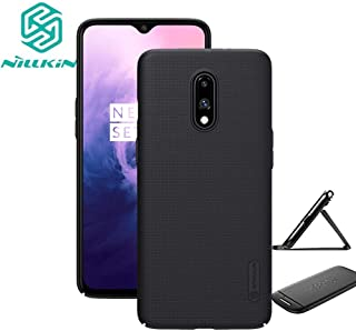for Oneplus 7 Case,Nillkin Slim Thin Shield Anti Fingerprints Hard Matte PC Case Back Cover with Kickstand for One Plus 7,Black