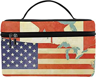Wanderlust Decor Utility Lunch Bag,States and Canada Outline Map of the North America in Grunge Stylized Soft Colors for Home,One size
