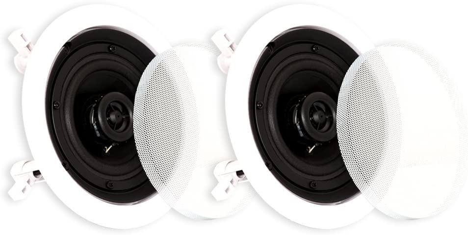Theater Solutions CS4C in Ceiling Surround Sound Home Theater Contractor Pair, White, 4-inch