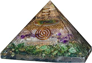Crocon Green Aventurine Selenite Amethyst & Rose Quartz Orgone Pyramid with Flower of Life Symbol for Energy Generator Chakra Balancing Reiki Healing EMF Protection Spiritual Decor Size: 3.5 Inch