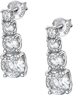 Lotus Pendientes de plata de ley 925 con elementos Swarovski JLP2012-4-1