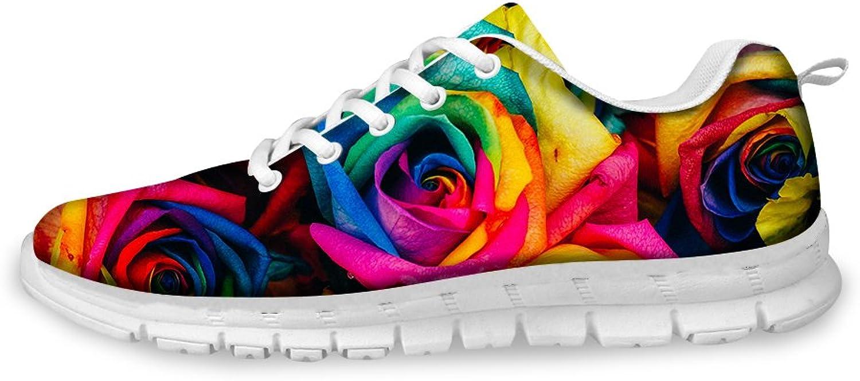 Nopersonality Womens Casual Lightweight Sneakers Flower Print Walking Tennis shoes