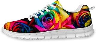 FOR U DESIGNS Women's Running Sneaker Lightweight Go Easy Walking Jogging Sports Running Shoes Rose Floral Print