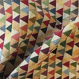 Tela por metros de tapicería - Jacquard Gobelino - Ancho 280 cm - Largo a elección de 50 en 50 cm | Triángulos beige - Rojo, verde, azul, gris, beige