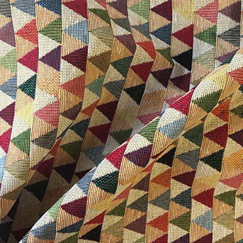 Kt KILOtela Polsterstoff - Dekostoff - Gobelin Jacquard - 280 cm Breite - Meterware ab 0,5 m - Preis Gilt für 0,5 m | Dreiecke beige - Rot, Grün, Blau, Grau, Beige