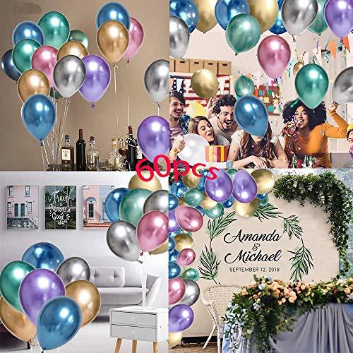 TOPHOPE Luftballons Metallic Geburtstag, 60 Stück Glänzendes Luftballons Helium, Latexballons Partyballon für Geburtstagsdeko, Baby Shower, Babypartys, Hochzeitsdeko, Party Dekoration, Baby-Dusche