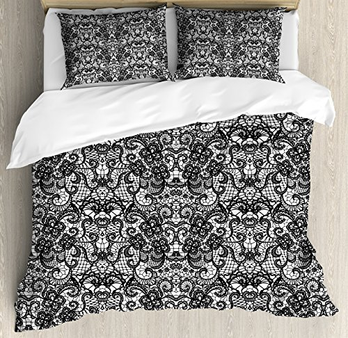 Ambesonne Gothic Duvet Cover Set King Size, Classical Bridal Composition Vintage Spring Motifs Victorian Wedding Inspirations, Decorative 3 Piece Bedding Set with 2 Pillow Shams, Black White