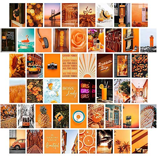 Wall Aesthetic Pictures,Orange Wall Art Aesthetic Wall Collage Kit Prints,Poster Prints Oil Painting,Orange Bedroom Decor for Teen Girls,50 Set 4x6 inch