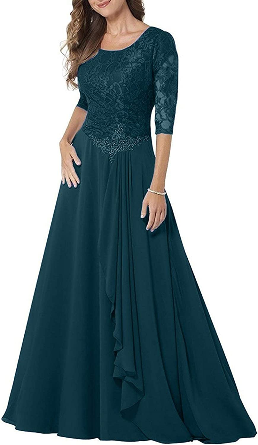 PearlBridal Modest Lace Half Sleeves Mother of Bride Dresses Chiffon Ruffle Long Formal Evening Gown