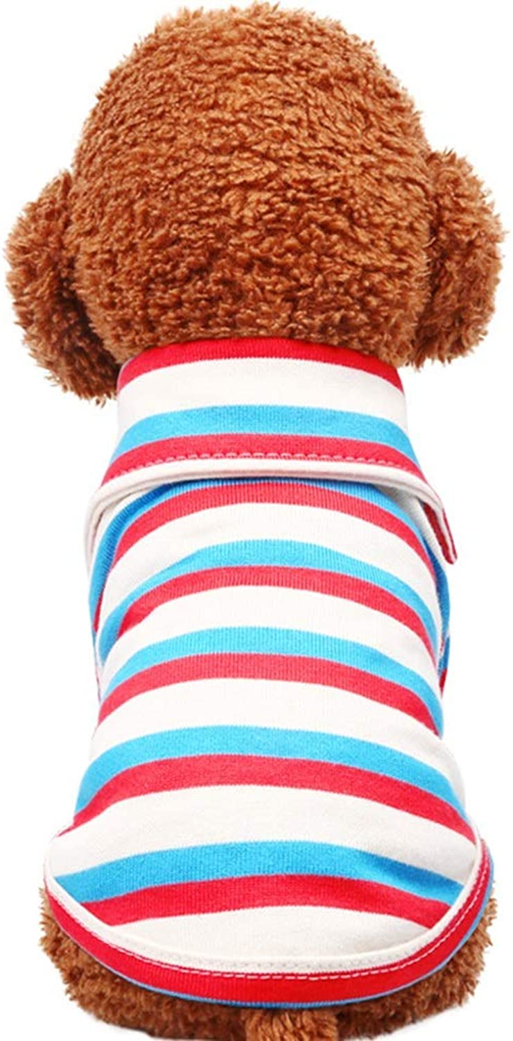 Huayue Spring and Autumn New Dog Clothing Stripy Polo Shirt Pet Clothes TShirt (color   White, Size   L)