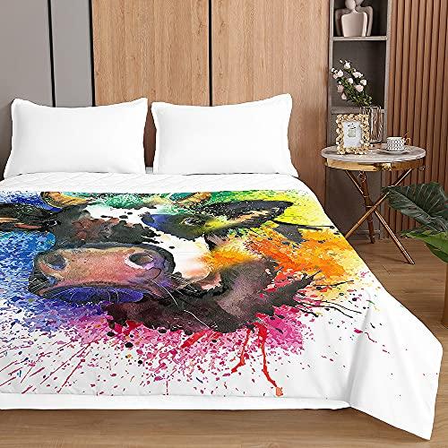 Chickwin Tagesdecken Bettüberwurf, 3D Kühe Drucken Sommer Tagesdecke mit Prägemuster Wohndecke aus Mikrofaser Bettdecke für Einzelbett Doppelbett oder Kinder (220x240cm,Mehrfarbig)