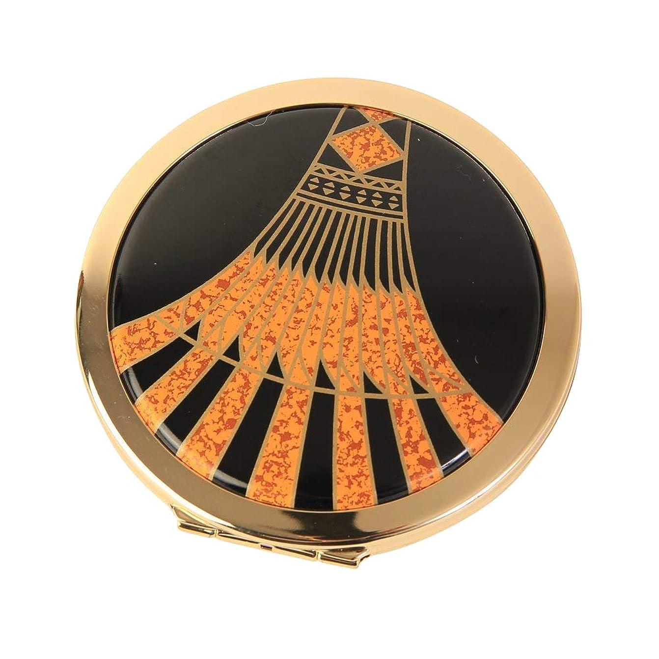 急降下見捨てる方法Stratton ストラットン コンパクト ダブルミラー 等倍+拡大 ブラック×オレンジ Art Deco ST1139